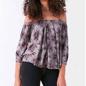 NWT UO Truly Madly Deeply Bardot Floral Top